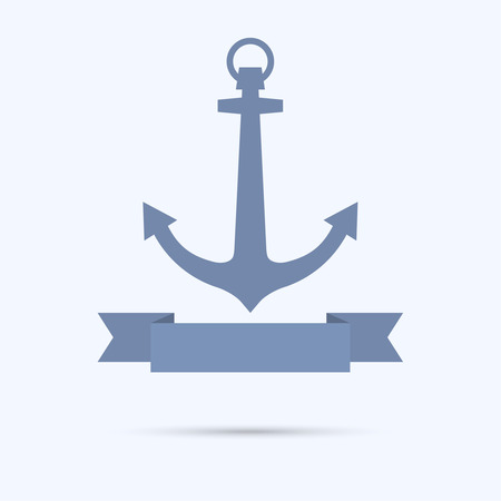 Anchor with Banner in the form of a flat tape. vector Vector