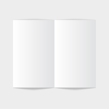 magazine: White stationery: blank twofold paper brochure on gray background. Open magazine. Cover for your design