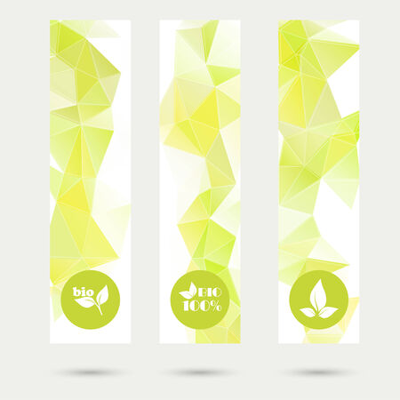 Set of vector banners with triangles and polygon mesh and with eco icons. For websites, internet, paper stickers, labels, Vector