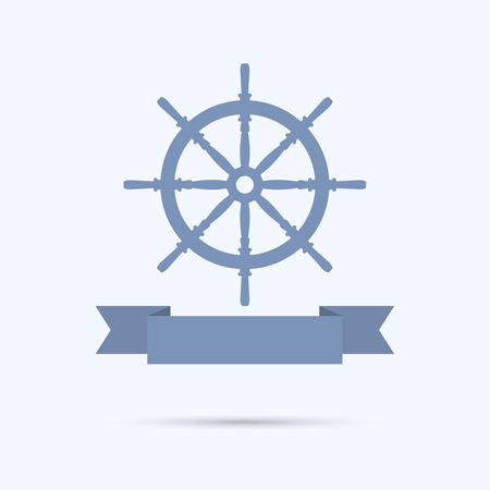 ship steering wheel: Wheel banners as a flat ribbon. vector Illustration