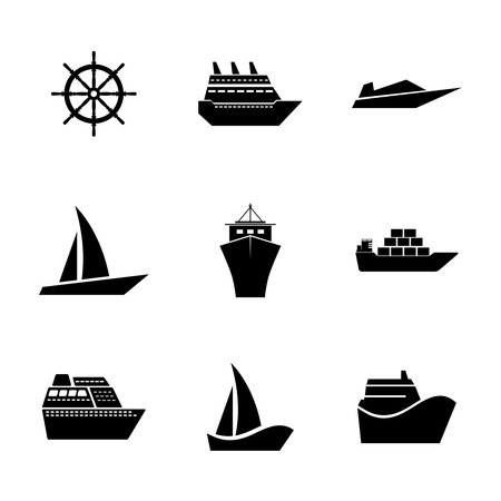 inflate boat: Set Icons ships. Freight, passenger, shopping. For different design