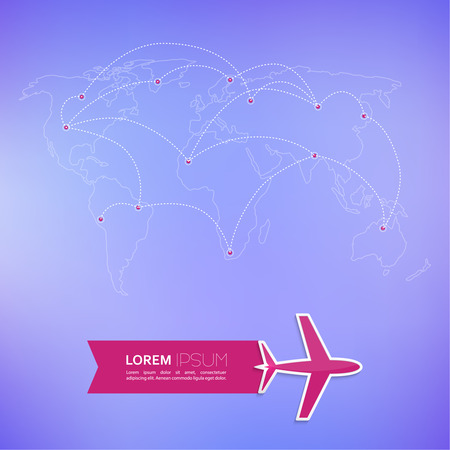 Mappa del mondo su uno sfondo sfocato con spazio per annunci di testo. un design piatto. Per i siti web e applicazioni mobili