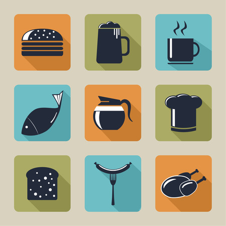 Set of icons with food and drinks, flat design. Vector. Vector