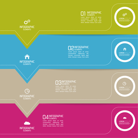 Strips of paper of different colors with pointers. for infographic, numbered banners,graphic or website layout vector, template for business reports. Vector