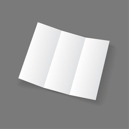 white open lying blank trifold paper brochure on gray background