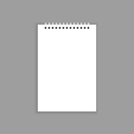 note pad: Blank notebook with blank place for text and notes. isolated on gray.