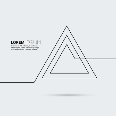 creates: Curve creates a pyramid of triangles. Symbol.  Modern flat design. for magazines, books, brochures, posters, postcards, Web sites.