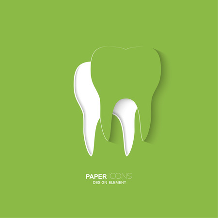 Paper icon tooth. Medical design. Vector