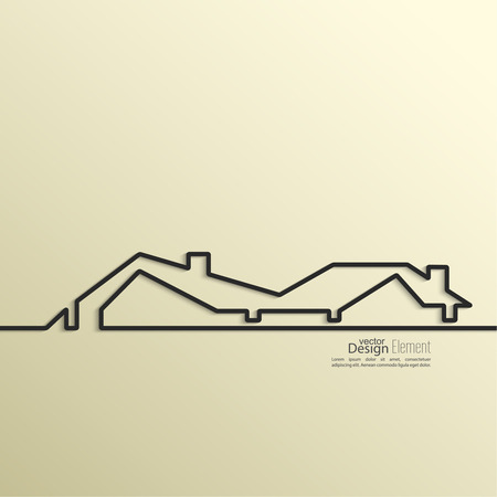 roof construction: Ribbon in the form of house with shadow and space for text. flat design.  website layout vector, template for business reports, Illustration