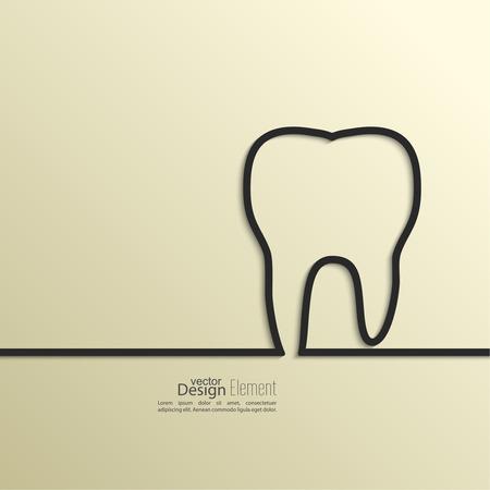 dentisterie: Ruban sous la forme de la dent avec l'ombre et espace pour le texte. design.banners plats, graphique ou site web modèle de présentation