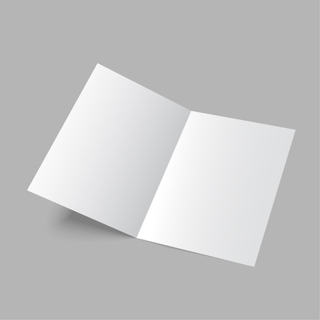 Lying  blank two fold paper brochure on gray background. Open magazine. Cover for your design