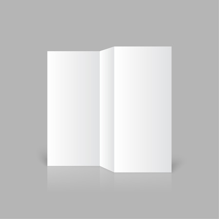 threefold: Stationary positioned blank three fold paper brochure on gray background. Open magazine. Cover for your design