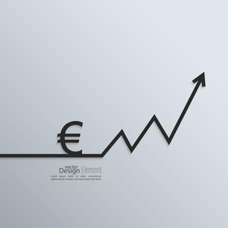euro teken: Lint euro teken en wisselen de curve pijl en ruimte voor tekst. platte design.banners, grafisch of website lay-out sjabloon