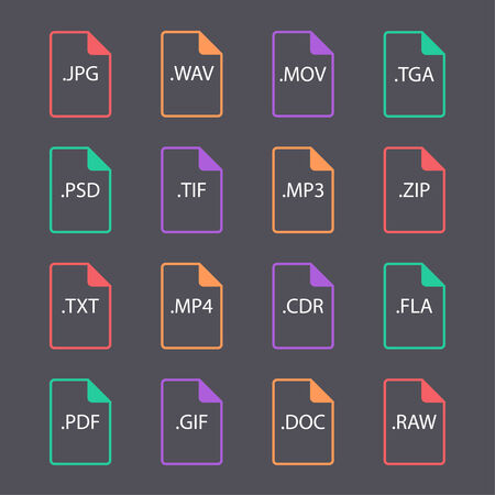 wav: Multicolored set of document file formats and labels. flat design. hollow form
