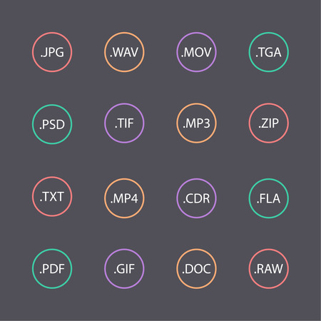 Multicolored set of document file formats and labels. flat design. round shape Vector