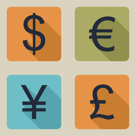 yen sign: Vector icons of money. Dollar, euro, pound, yen. flat design