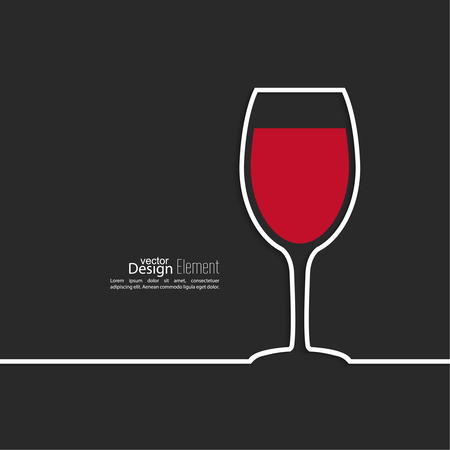 red wine pouring: Ribbon in the form of wine glass  with shadow and space for text. flat design.banners, graphic or website layout  template. red Illustration