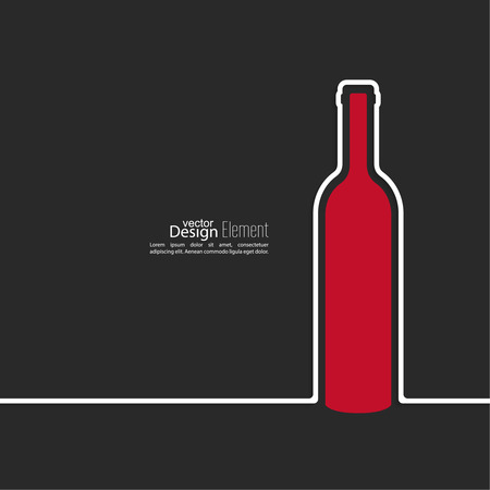 bottle of wine: Ribbon in the form of wine bottle  with shadow and space for text. flat design.banners, graphic or website layout  template. red