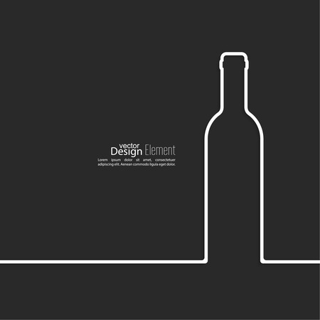 Ribbon in the form of wine bottle  with shadow and space for text. flat design.banners, graphic or website layout  template. red Vector