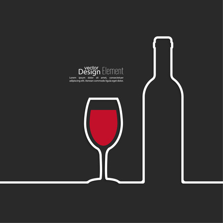 bottle of wine: Ribbon in the form of wine bottle and glass  with shadow and space for text. flat design.banners, graphic or website layout  template. red