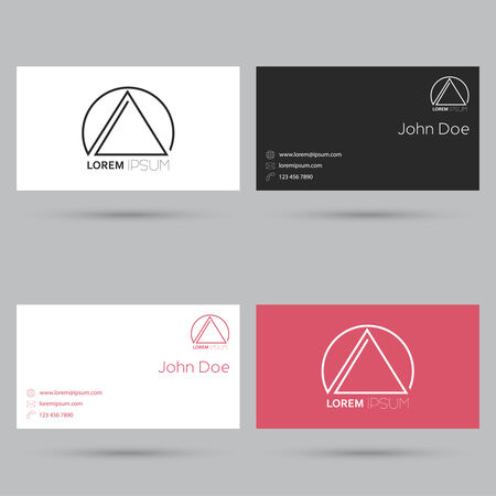 Set of business cards with simple colors and original character. Minimalism. flat Design Vector