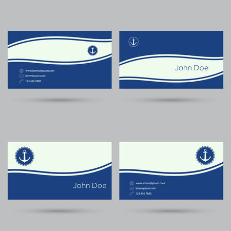 calling art: Trendy business card template. Flat design. minimalism. nautical theme. anchor