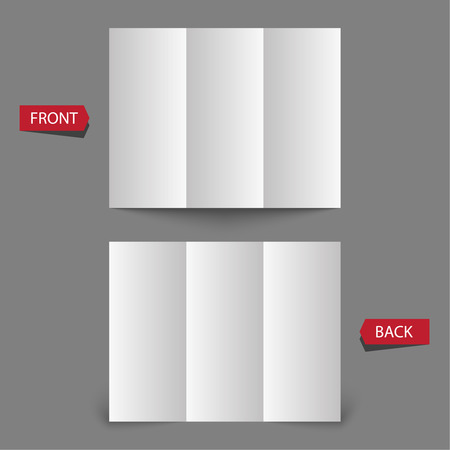 threefold: Stationary positioned blank three fold paper brochure on gray background