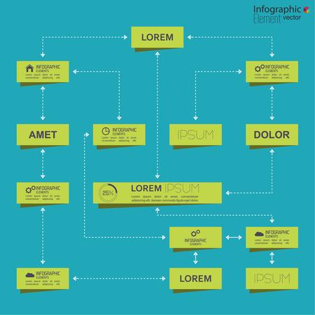 organigrama: Organización corporativa plantilla de gráfico con elementos rectángulo. diseño plano
