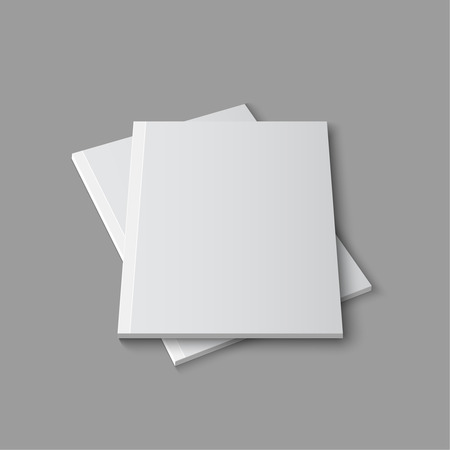 cover up: Blank empty magazine template lying on a gray background. vector Illustration