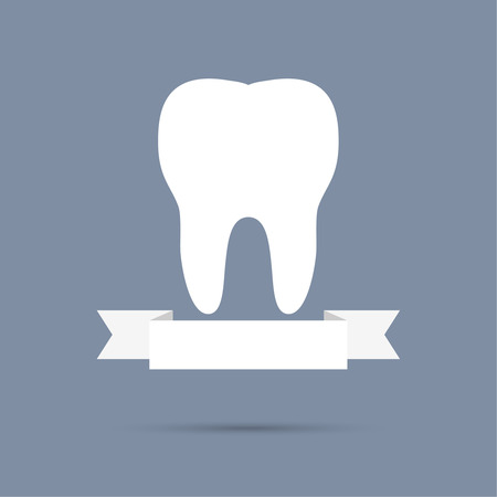 carious: Human tooth with a ribbon. Flat design. banner, graphic or website layout  template. blue Illustration