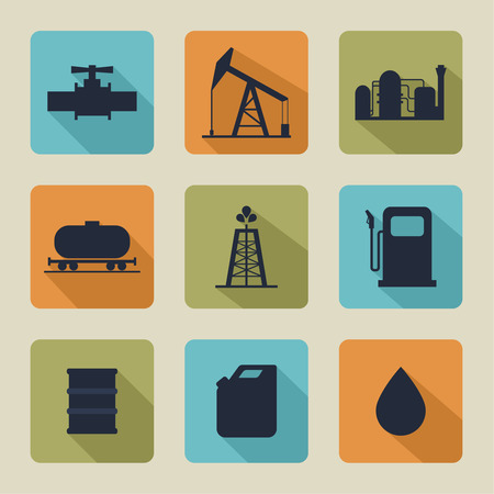 pipeline: Set of vector icons with oil production, processing, refining, transportation of oil. Flat design Illustration