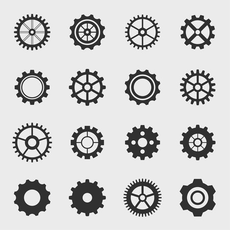 wheel spin: Different types of gears. Set icons.