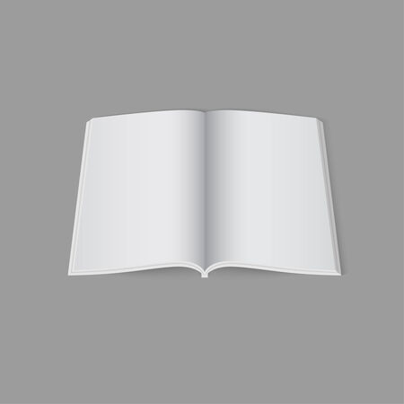 magazine template: Blank empty open magazine template lying on a gray background. vector