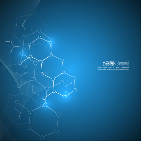 Abstract background with DNA molecule structure. genetic and chemical compounds