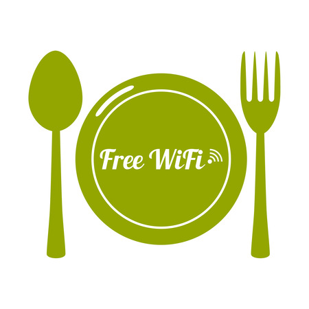 insecure: Internet cafes. Wireless free connection. wifi icons with plate, spoon, fork  for remote access. poster design