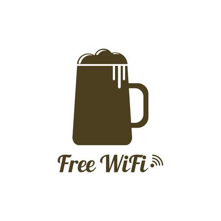 wifi access: Internet caf�. Connessione gratuita senza fili. icone WiFi con il vetro di birra per l'accesso remoto. poster design