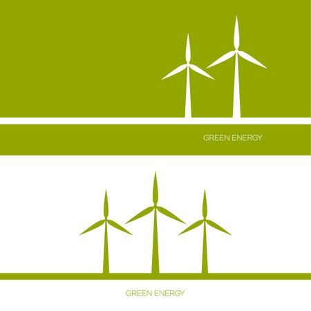 wind farm: Windmills receiving wind energy. Vector illustration concepts for ecology,  and green technology. flat design