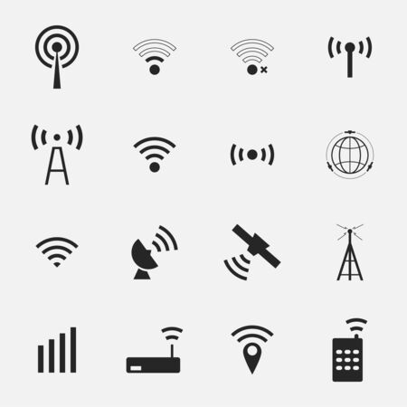wifi access: Set  different black vector wireless  and wifi icons for remote access and communication via radio waves. satellite communication and wireless transmission of information.