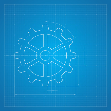 drawing paper: Paper blueprint background. Gears symbol on the drawing paper. Concept of motion and mechanics, connection and operation engineering design work. vector