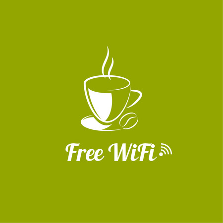 cybercafe: Internet cafes. Wireless free connection. wifi icons with a cup of hot coffee for remote access. poster design
