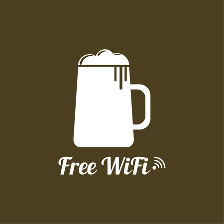 cordless: Internet cafes. Wireless free connection. wifi icons with  beer glass for remote access. poster design Illustration