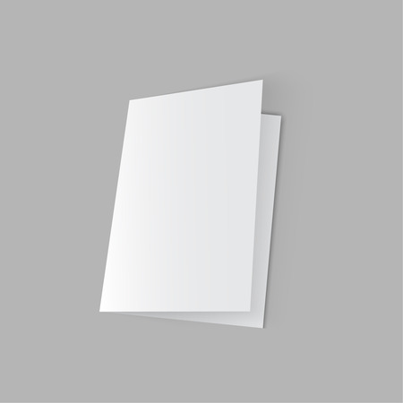 threefold: lying half-open blank  fold paper brochure on gray background. Open magazine. Cover for your design