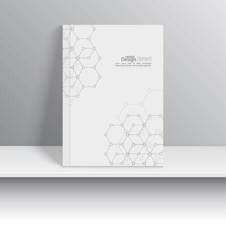 marca libros: Portada de revista con las moléculas, el ADN y compuestos químicos. Objeto de arte presentado en el estante. Folletos, tarjetas postales, tarjetas de visita, anual Vectores