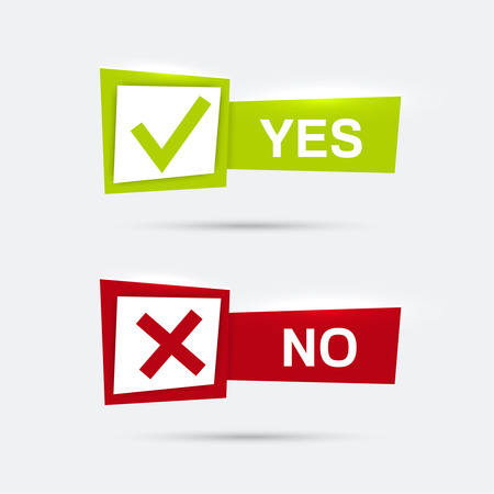 Vector banners met vinkjes bevestiging, aanvaarding positieve doorgegeven stemovereenkomst ware en vorm van toegang ontkenning, weigeren