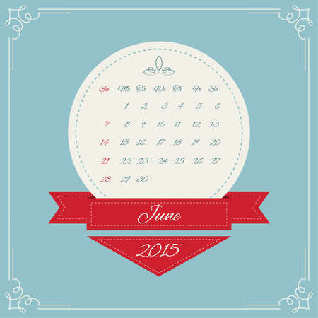 Calendar for 2015. Round Vintage banners with ribbon for month and swirl elements and Vintage frame. vector. June, summer