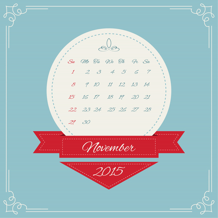 Calendar for 2015. Round Vintage banners with ribbon for month and swirl elements and Vintage frame. vector. November, autumn Vector