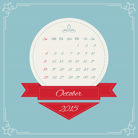 Calendar for 2015. Round Vintage banners with ribbon for month and swirl elements and Vintage frame. vector. October, autumn Vector