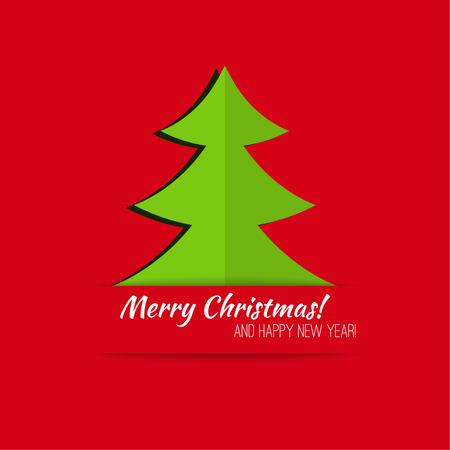 rime: Abstract Winter Background. Christmas tree applique. Happy New Year and Merry Christmas. green, red