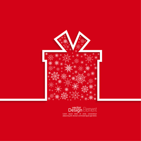 christmas gift box: Ribbon in the form of gift  with shadow with snowflakes and space for text. flat design. Merry Christmas. Happy new year. congratulation