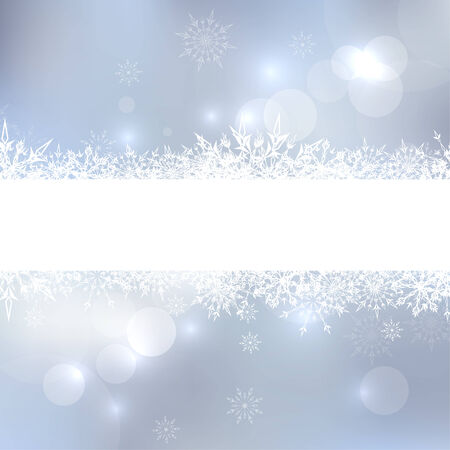 Abstract Winter Background with beautiful various snowflakes and stars